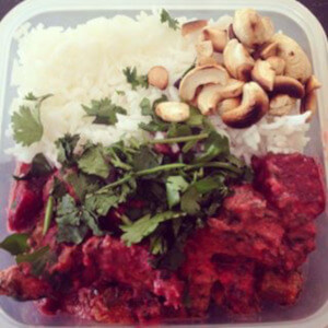 Beetroot curry toasted cashews basmati rice coriander.