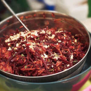 Shredded beetroot salad with orange. mint and ginger.