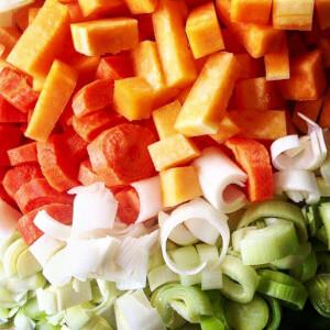 Carrots and Leeks arranged to form an Irish Tricolour flag.