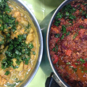 Coconut dhal and spicy bean chilli.