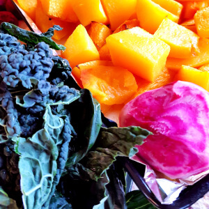 Colourful kale beetroot butternut squash.