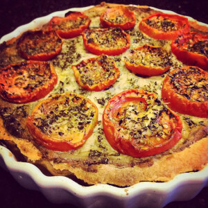 Courgette and mushroom vegan quiche.