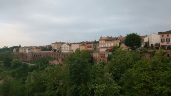 Houses overlook the Tarn