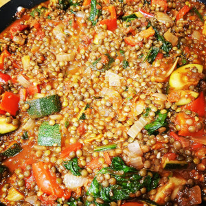 Puy lentil and Mediterranean vegetable stew.