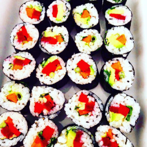 Colourful vegan sushi.