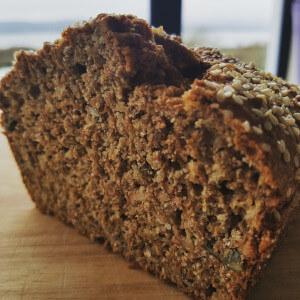 Wheaten bread with pumpkin seeds and sunflower seeds.